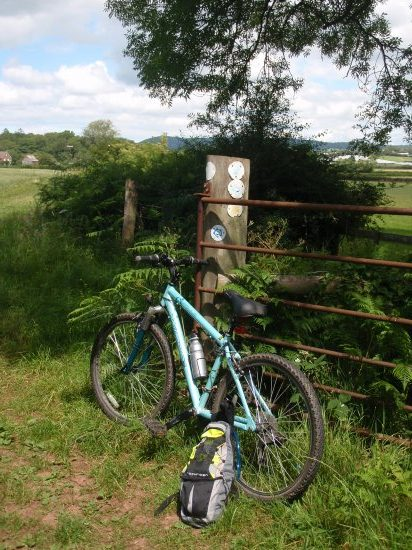 my bike, leaning on an overpopulated signpost