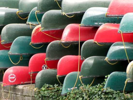 a stack of canoes