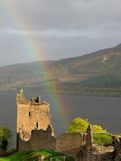 Urquhart Castle with rainbow