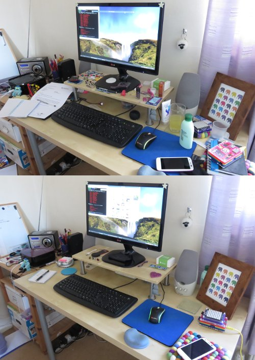 desk tidy before and after
