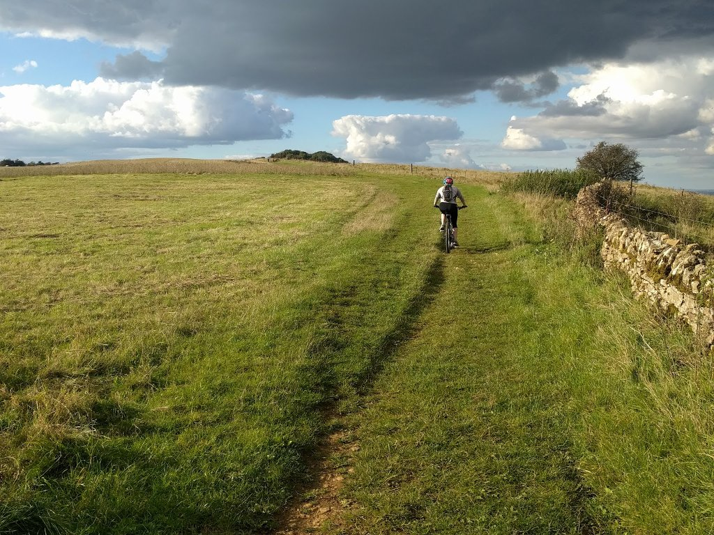 cycling along a bridleway on Bredon hill