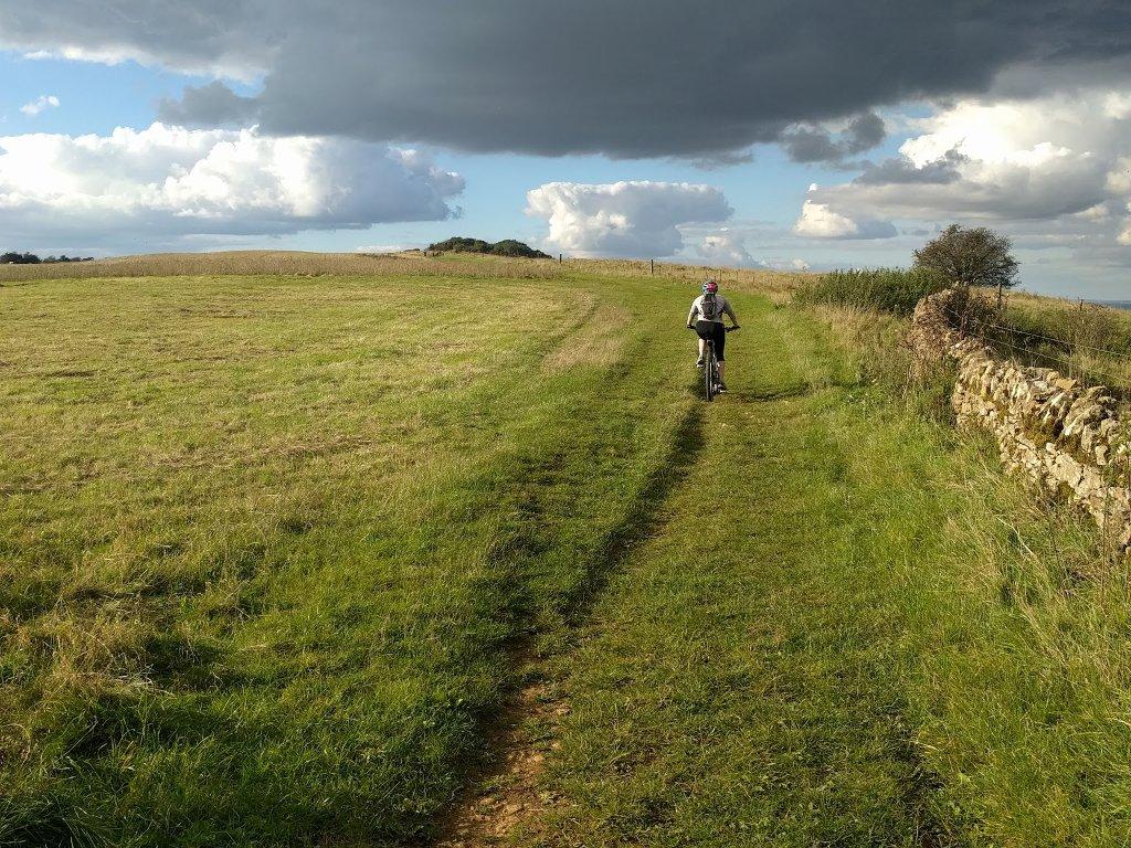 cycling along a bridleway on Bredon hill