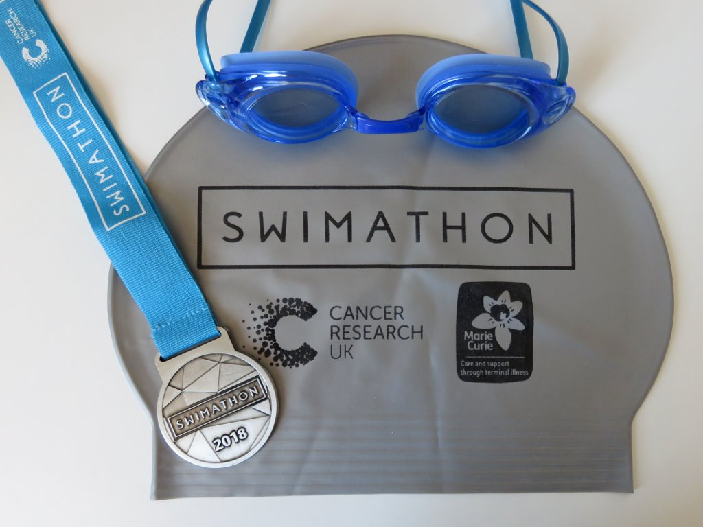 swimathon medal, cap and my new goggles