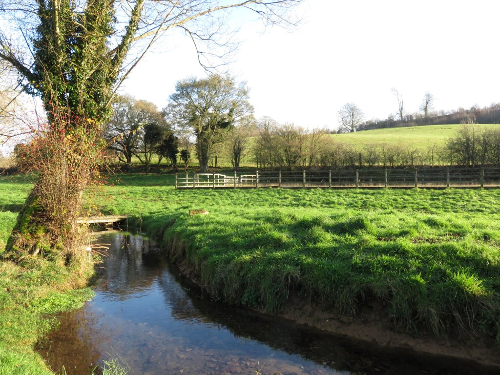 fields and stream near Avening
