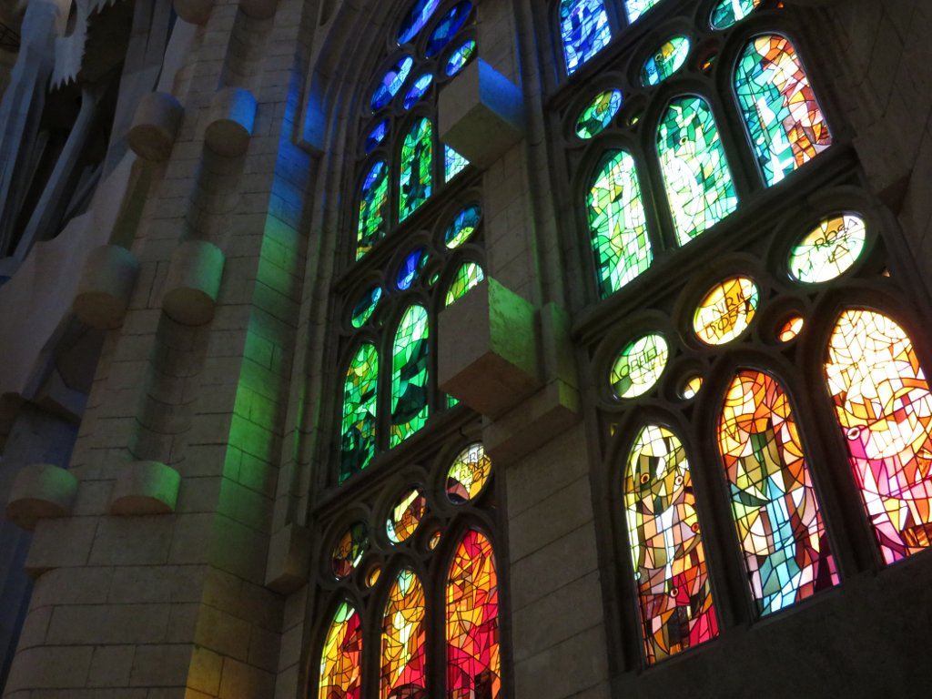 colourful stained glass in the Sagrada Familia