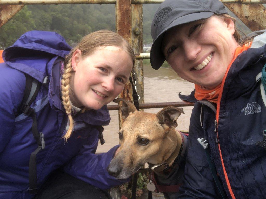 Katy, Tillydog and Zoe on a very wet Wireworks bridge, Tintern