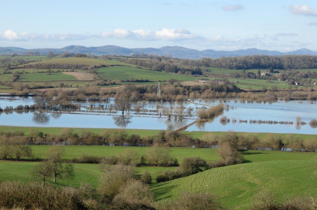 view of the Malvern hills, and Severn floodplain, from Sandhurst hill
