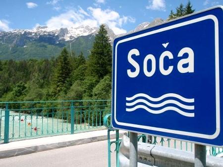 River Soca signpost